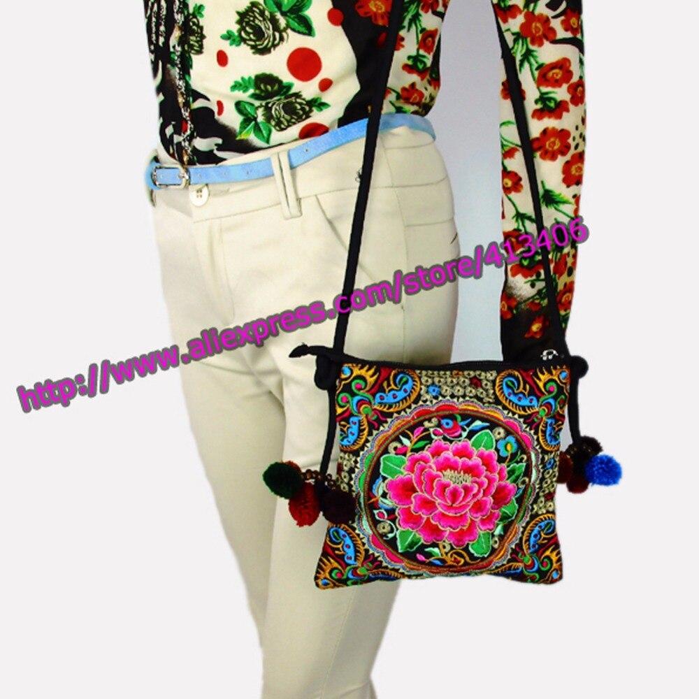 Hmong Tribal Etnik Tay Hint Boho omuz çantası messenger nakış pom - Çanta - Fotoğraf 1