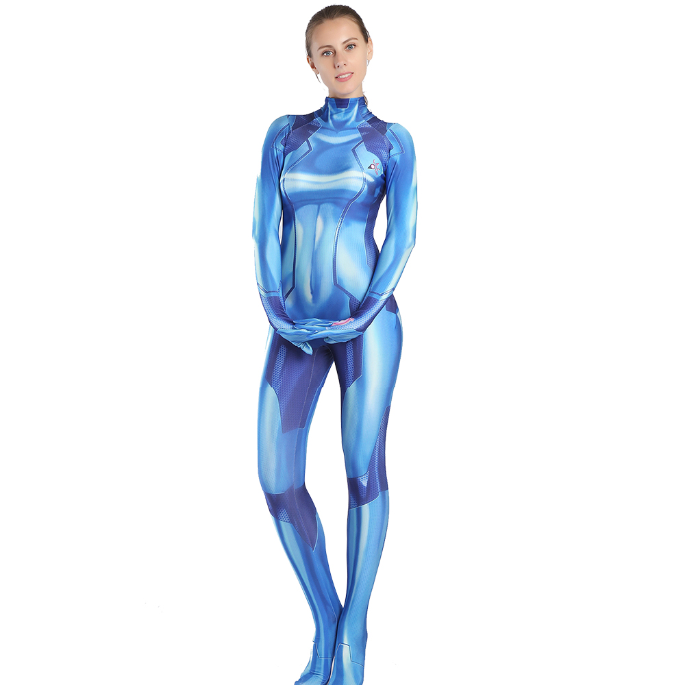 Metoid Prime Samus Zero Aran costume Spandex Blue color 3D print girl cosplay bodysuit jump suit costumes for Halloween costumes