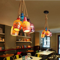 Лофт industrial американский подвесной светильник LED с 5 светильники для столовой Винтаж подвесной светильник Lamparas colgantes