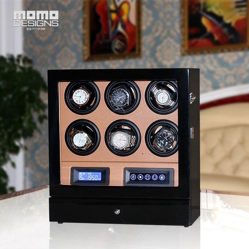 6fb3501e744 Caixa de Relógio enrolador 6 HOTSALE Luxo relógio automático display LCD  com tela de toque