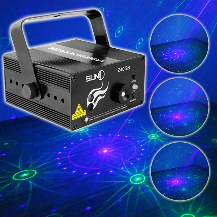 SUNY 3 Lens 40 Pattern Club GB Laser Blue LED Stage Lighting Home Party Professional Projector illumination DJ Light Disco Z40GB
