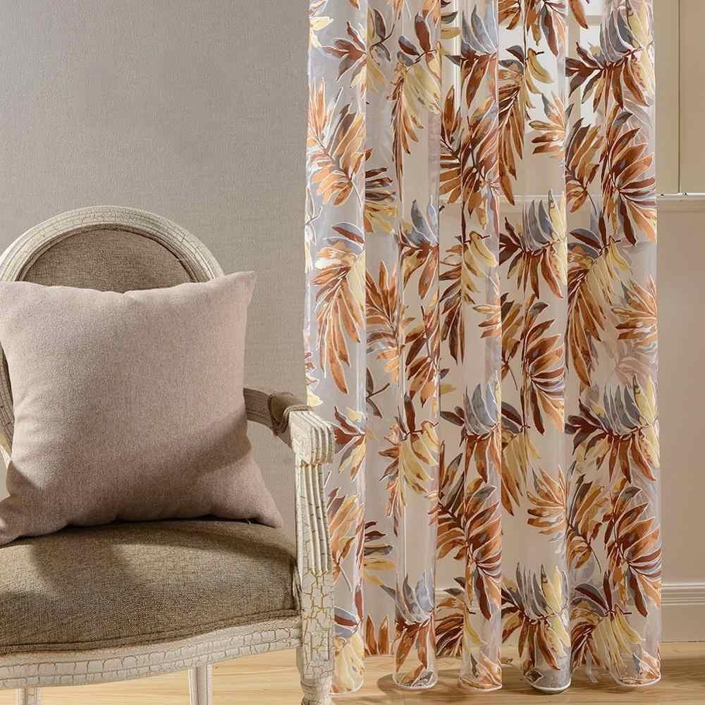 Topfinel Новинки синие шторы с рисунками тропических листьев для гостиной спальни Занавески для кухни Тюли для окна
