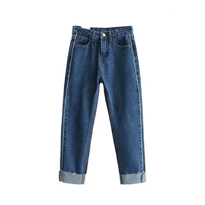 European style 2017 new fashion side of the white line denim pants hem curling women jeans