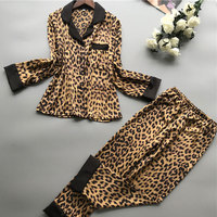 Leopard Long sleeved Pajamas and Pants Set Ladies High Quality Spring Imitation Silk Pajamas Set