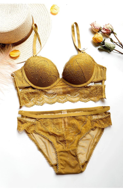2019 New adjustable Brassiere Thin Black Push Up Bra Set Embroidery Bras Lace Women Lingerie Sets Gather Sexy Underwear Set