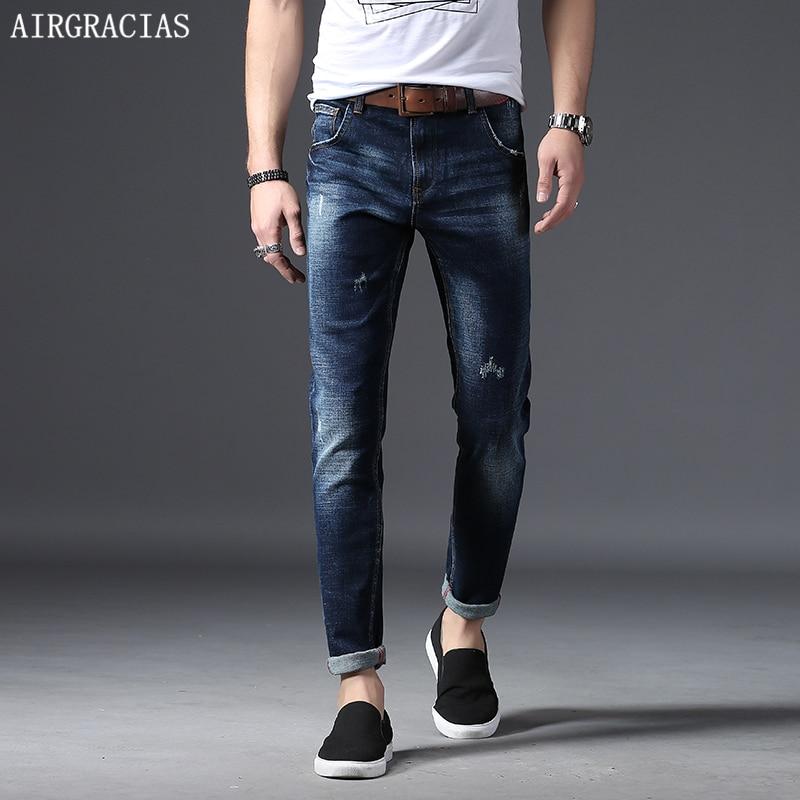 AIRGRACIAS 2018 New Brand Men Jeans Pants Dark Color Wash Jeans Casual Jeans For Men Elasticity Cotton Four Season Denim Jean