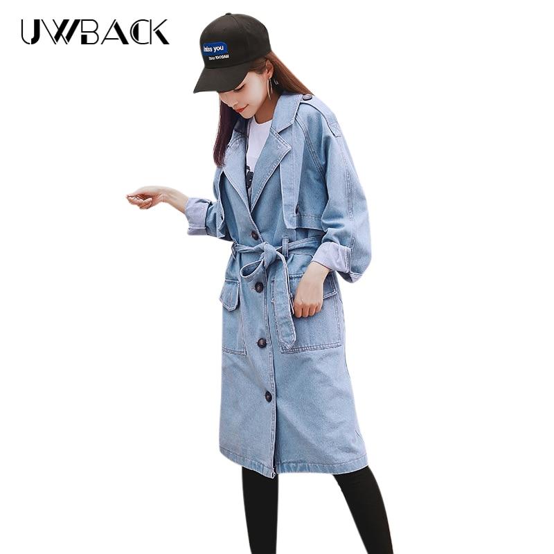 Giacca Jeans Morbido lungo Tasche Con Donne Autunno E Bottoni Uwback Blue Giacche I Pb016 Telai Primavera Outwear Mid Di Sottile Poliestere Femminili qStnT5