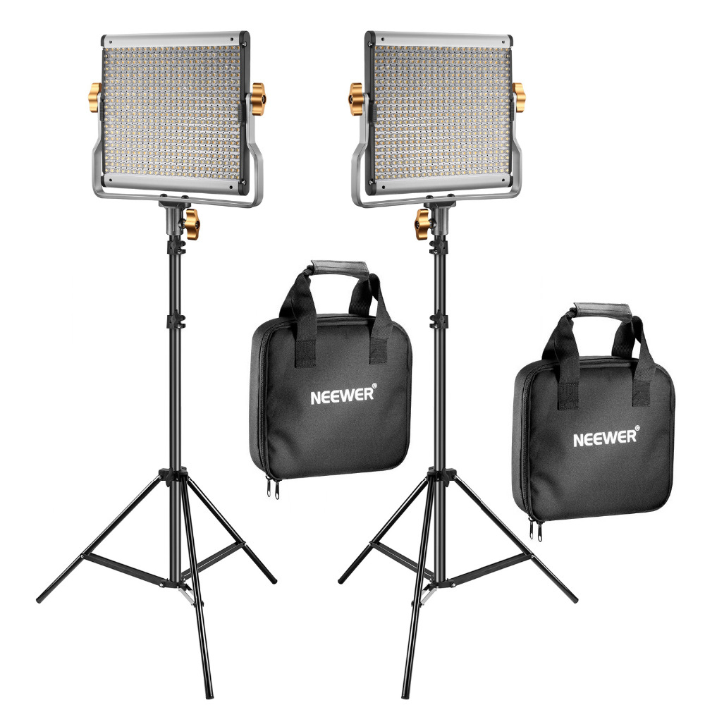 Neewer 2 Packs Dimmable Bi-color 480 LED Video Light +2 Light Stands for YouTuber Studio Photography 110-130V US Plug
