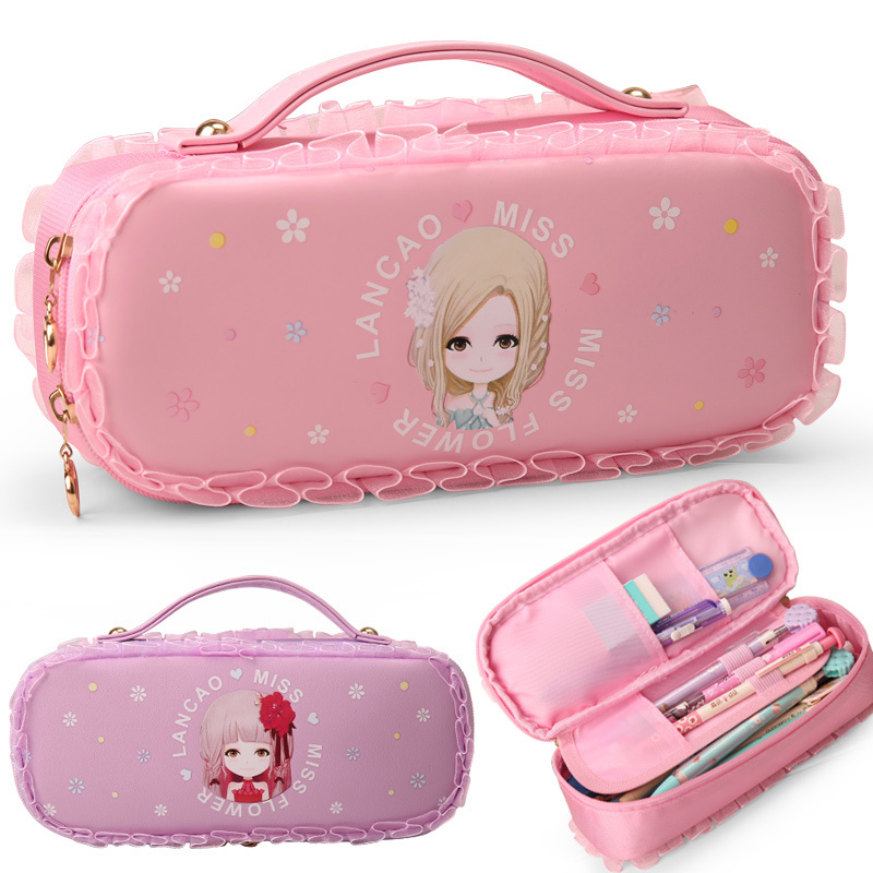 Flower language girl Series Pencil Case Big Capacity Pencil Bag Boy Girl Cartoon Box For Pens Double Zipper Cute Stationery