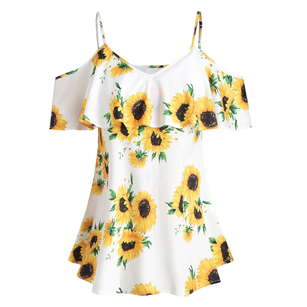large Size t shirt women beauty Sunflower Printed Short Sleeve Ruffles off Shouder summer t shirt hot