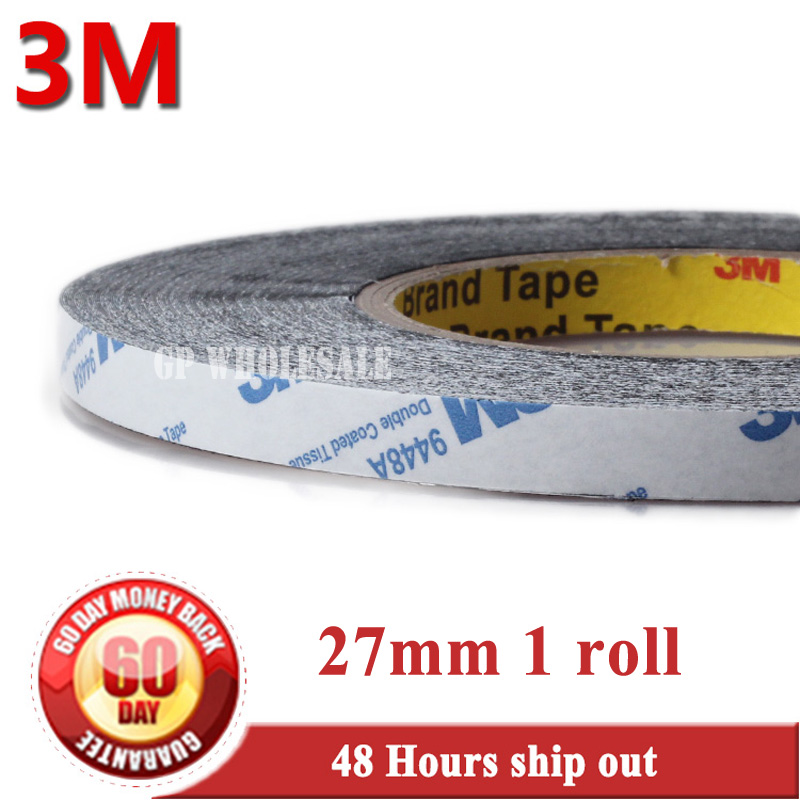 27mm* 50 meters 3M BLACK 9448 Double Sided Adhesive Tape Sticky for LCD /Screen /Touch Dispaly /Housing /LED #954 1x 76mm 50m 3m 9448 black two sided tape for cellphone phone lcd touch panel dispaly screen housing repair