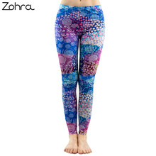 b4ab9a9495630 Zohra Fashion Women Colorful Dot Print Stitching Pattern Leggings Fitness Stretch  Slim Bottoms Sexy Workout Elasticity Pants