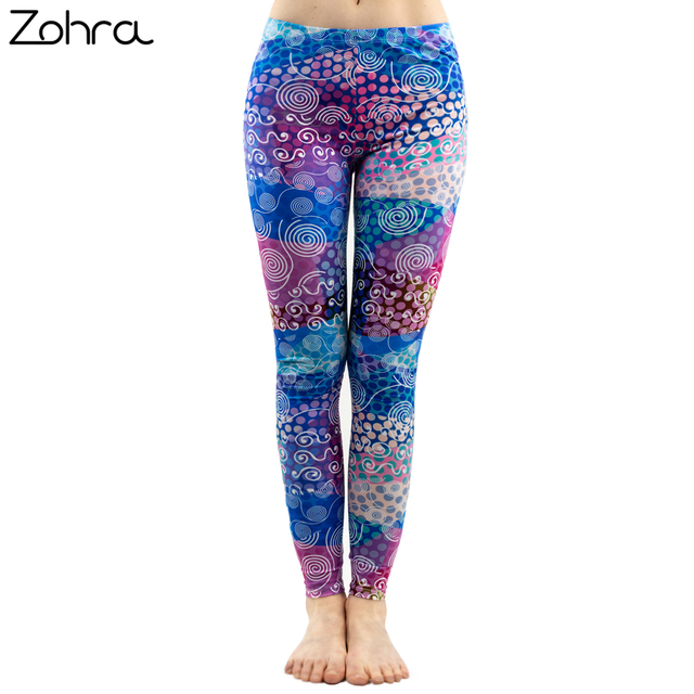 Zohra  Fashion Women Colorful Dot Print Stitching Pattern Leggings Fitness Stretch Slim Bottoms Sexy Workout Elasticity Pants