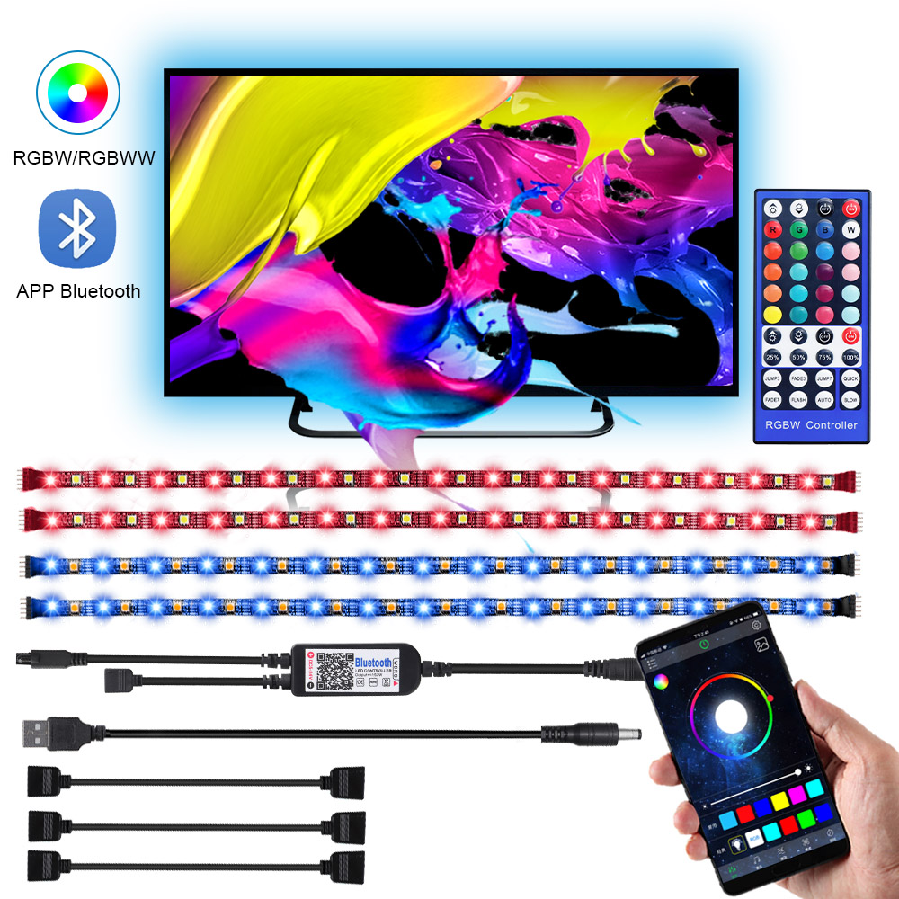 DC 5V USB Led Strip RGBW RGBWW 50CM 1M 2M 3M 4M APP Bluetooth Control IR 40 Key Controller 5050 Flexible Led Tape TV Backlight