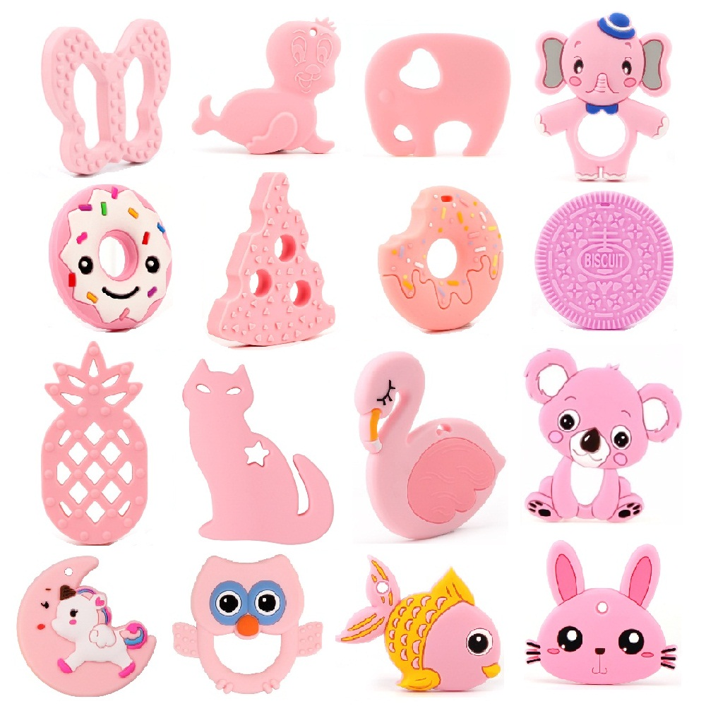 TYRY.HU 1pc BPA Free Silicone Teethers Food Grade Silicone Beads DIY Teething Necklace Baby Shower Gifts Cartoon Animals Teether