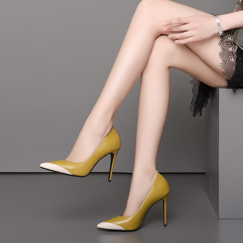 Noir jaune Femmes Msstor De Pointu Peu Mode Profonde Femme Sexy En Chaussures Véritable Pour Bout Mince Talons Pompes Mariage Cuir Partie CorxeWdB