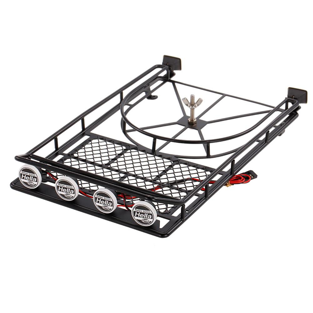LeadingStar Simulation Metal Roof Luggage Rack LED Light for RC Car 1/10 RC Axial SCX10 90046 D90 Crawler Car ZK30 injora roof rack luggage carrier with light bar for 1 10 rc crawler d90 axial scx10 90046