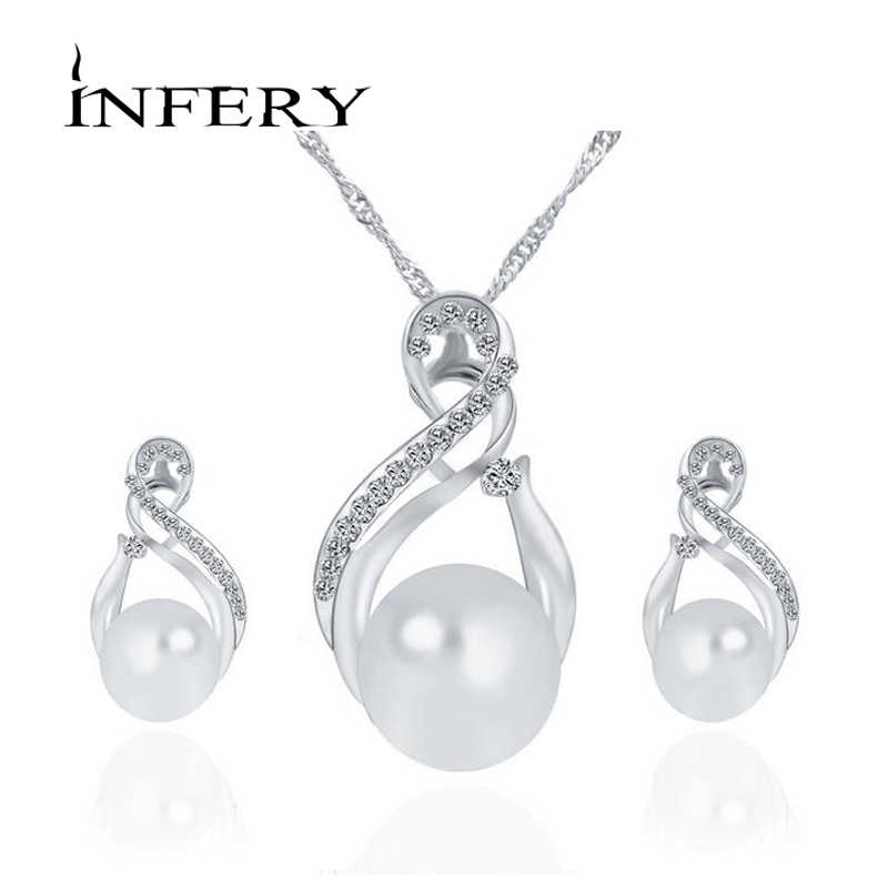 New Fashion Simulated Pearl Jewelry Sets Water Pendant Necklaces Earrings For Women Bride Wedding Accessories 2T049