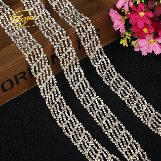 Type 1 Yards Long Chain Zirconium Alloy The Wedding Dress Adornment  Ornament Pruning DIY Sewing Applique Adornment Rhinestone c126038b2