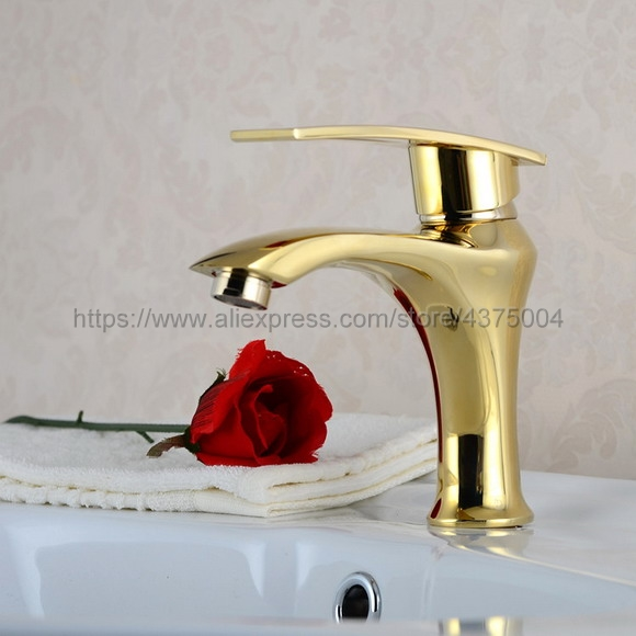 Deck mounted Polished Gold finish bathroom Faucet basin mixer tap Hot and cold water tap Ngf025Deck mounted Polished Gold finish bathroom Faucet basin mixer tap Hot and cold water tap Ngf025