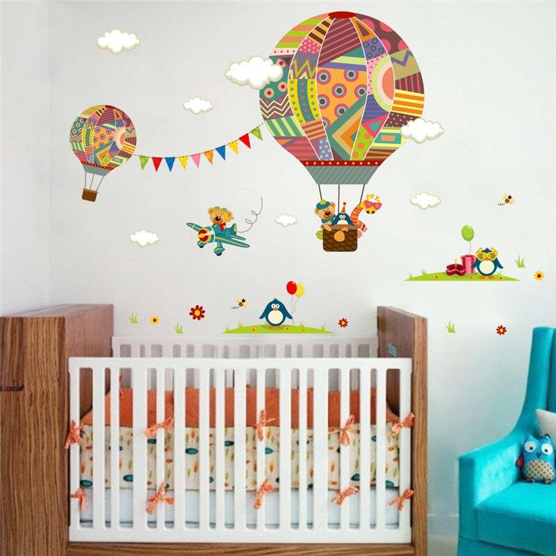 Us 4 71 9 Off Hot Air Balloon Flag Bear Giraffe Nursery Room Wall Sticker For Kids Rooms Children S Decals Mural Poster In