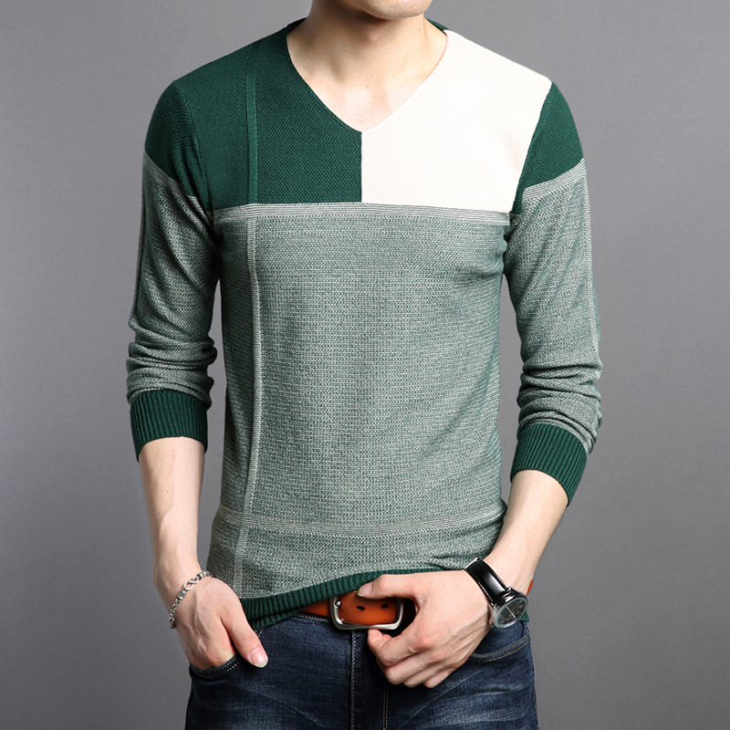 Autumn Spring Patchwork Knitwear Mens Weaters Casual Wear Fashion Green Yellow Mens Slim Fit Pullovers Male Asia Size M~4XL