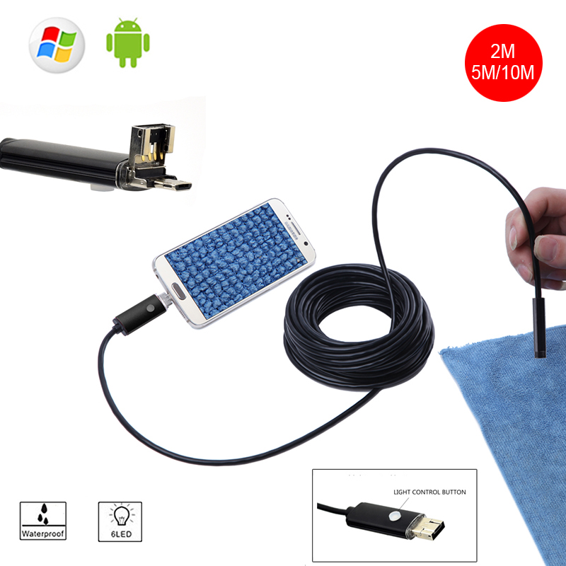Mini Camera Endoscope 2IN1 Android  USB Camera 2M 5M 8mm HD Tube Pipe Waterproof Phone PC USB Endoskop Inspection Borescope OTG 8mm 2in1 micro usb endoscope camera 2m lens android phone endoscope mini camera inspection borescope tube snake mini camera