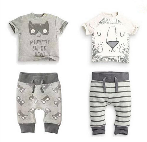 Retail 2016 new baby boy clothes set 2pcs Cartoon lion and cat T-shirt with short sleevess+pants baby summer clothes 2017 new baby boys clothing set 2pcs kids clothes cartoon cat cute boy suit fashion new boy s summer t shirt pants toddler suits