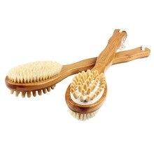 Щетки для тела сухой кожи чистки назад скруббер для кожи пилинг и целлюлита Bamboo ванны кисть с длинной ручкой Душ