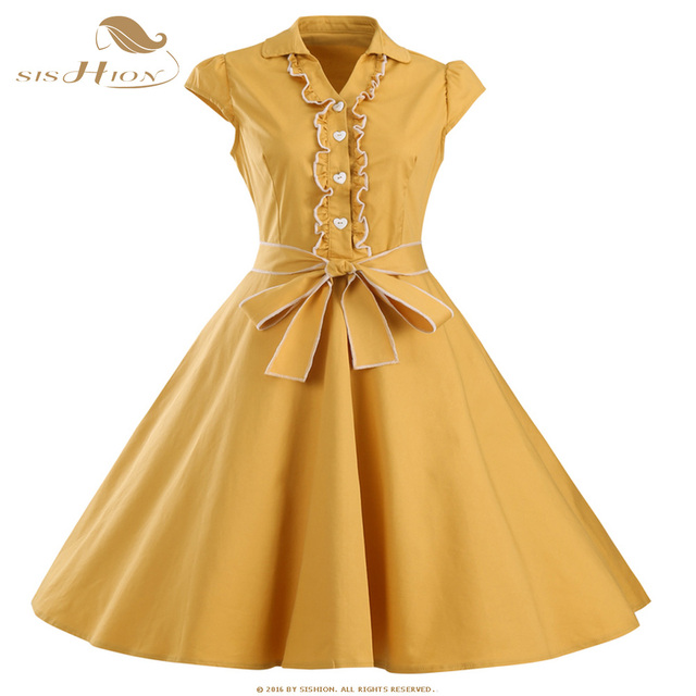 2e3b67bc1b US $22.16 10% OFF|SISHION Women Summer Dress Black Red Yellow Audrey  Hepburn 50s 60s Vintage Dresses Vestidos Plus Size Swing Party Dress  VD0447-in ...