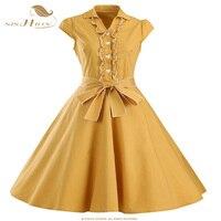SISHION Women Summer Dress Black Red Yellow Audrey Hepburn 50s 60s Vintage Dresses Vestidos Plus Size Swing Party Dress VD0447