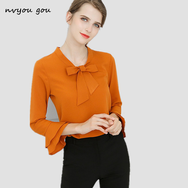 28bc19012 nvyou gou Flare Long sleeve Chiffon Blouse Bow Tie Layer Ruffle Sleeve Top Women  New Spring