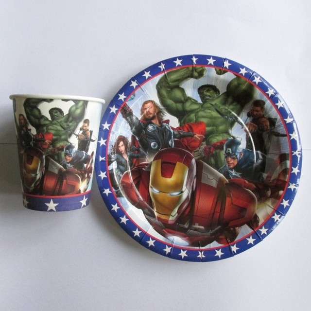 Avenger Theme printed paper cup*30pcs+7inch plate*30pcs tableware for kids birthday & Avenger Theme printed paper cup*30pcs+7inch plate*30pcs tableware ...