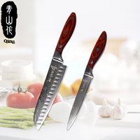 QING 7 inch Santoku Damascus Knives 5 inch Utility Kitchen Knife Professional Damascus Steel Kitchen Knives Cooking Accessories