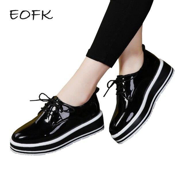 35db5d32127 EOFK Women Flat Platform Shoes Patent Leather Shoes Woman Black Flats Lady  Classic Platform Shoes Varnish Female Footwear