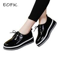 EOFK Women Flat Platform Shoes Patent Leather Shoes Woman Black Flats Lady Classic Platform Shoes Varnish Female Footwear