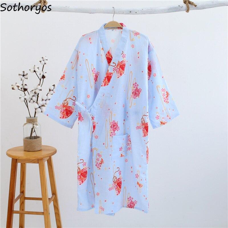 Image 5 - Robes Women Elegant Trendy Lovely Loose Bathrobe Japanese Printed Kimono Robe Simple Daily Sleepwear Womens Breathable StudentRobes   -
