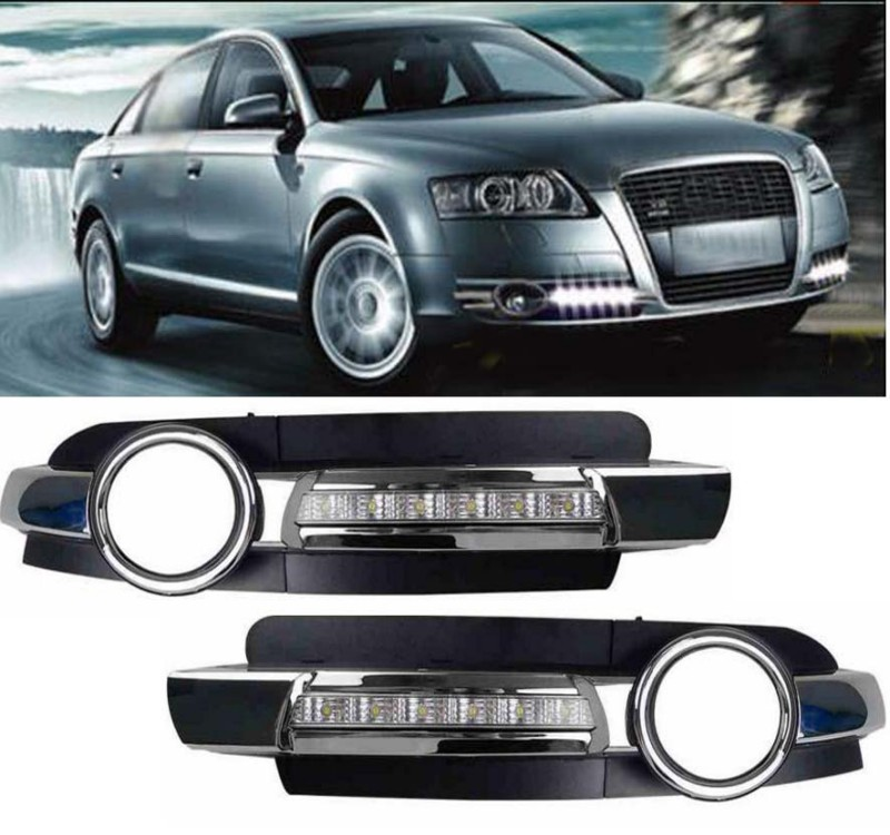Led Daytime Running Light Fog Lamp Cover DRL For Chrome Audi A6 A6L C5 2005-2008 for nissan patrol y62 armada accessories original design fog lamp with chrome fog light cover