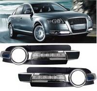 Led Daytime Running Light Fog Lamp Cover DRL For Chrome Audi A6 A6L C5 2005-2008