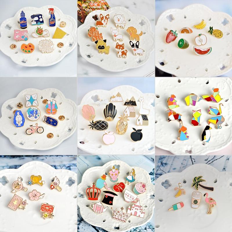 9 sets Animal Plant Cartoon Enamel Pins Badge Building Blocks fox Fairy tale Brooches for women Cute dog Paint lapel Pin Jewelry