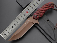 Small straight knife 5Cr13 steel dark red G10 handle K sheath Outdoor survival tools camping knife climbing equipment v blade