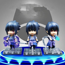10cm 3pcs/set Naruto Shippuden Uchiha Sasuke Q Version Mini PVC Figures Collectible Model Toys -16