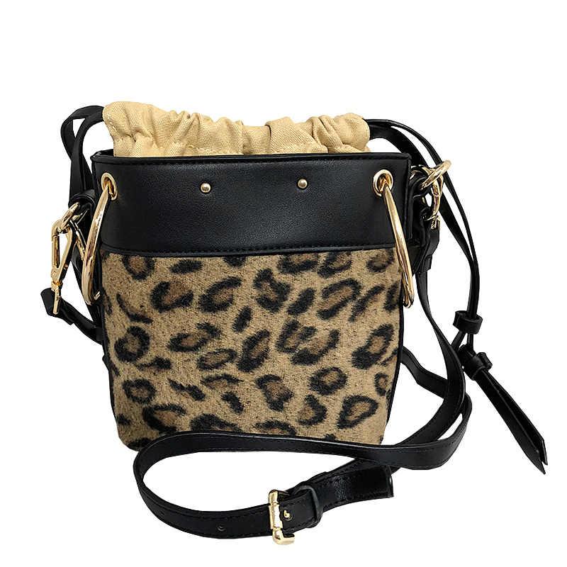 Women s Horse Hair Fur Wristlet Drawstring Bucket Bag Leopard Printing  Handbag Crossbody Bags Clutch Ladies Shoulder 54fe0230f3f9e