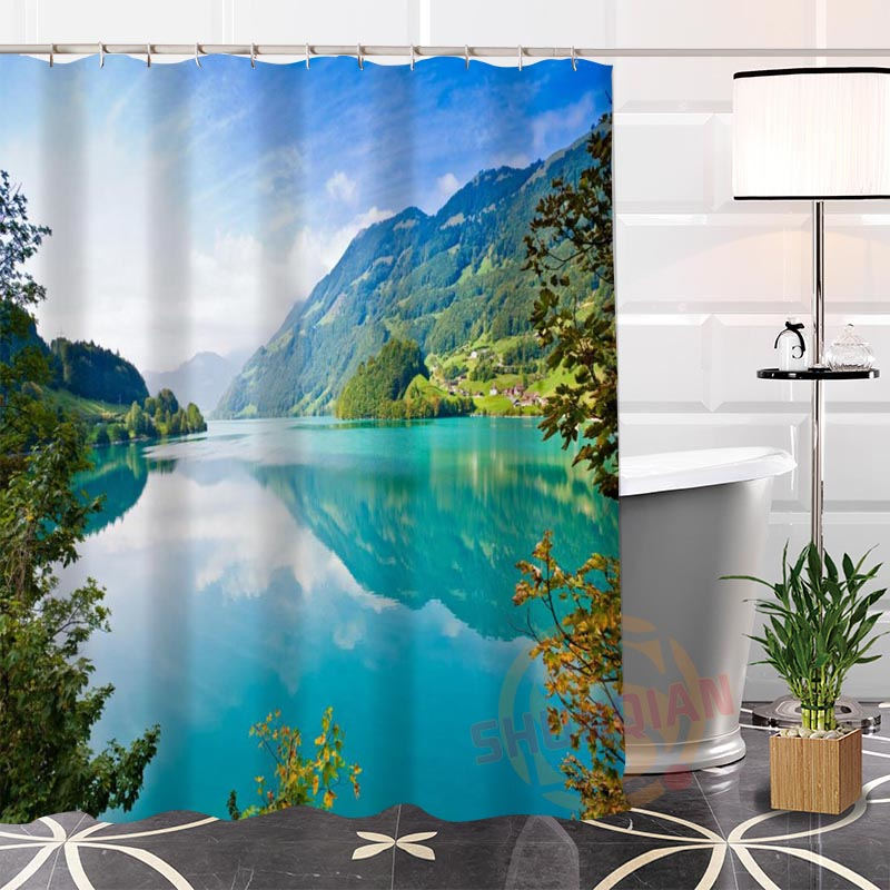 Eco-friendly Custom Unique Popular Rivers Mountains Fabric Modern Shower Curtain bathroom Waterproof for yourself H0220-142