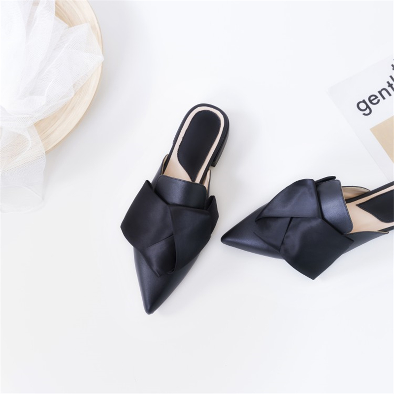 Ouqinvshen Butterfly-knot Mules Shoes Women Plus Size 34-43 Fashion Casual Sweet Women Shoes 2018 Pointed Toe Women Slipper