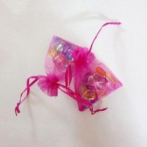 Image 4 - 1000pcs רוז אדום שקיות מתנת תכשיטי שקיות אריזת אורגנזה תיק שרוך תיק חתונה/אישה אחסון תצוגה שקיות