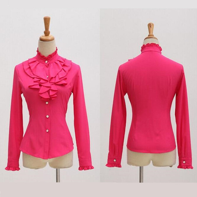 High quality long sleeve chiffon blouse Elegant women Ruffles shirt slim office blusa feminina work wear plus size tops
