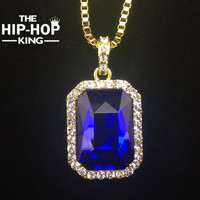 Bling Bling Iced Out Red Ruby CZ Pendant Chain 14k Gold Square Red Black Blue Gemstone