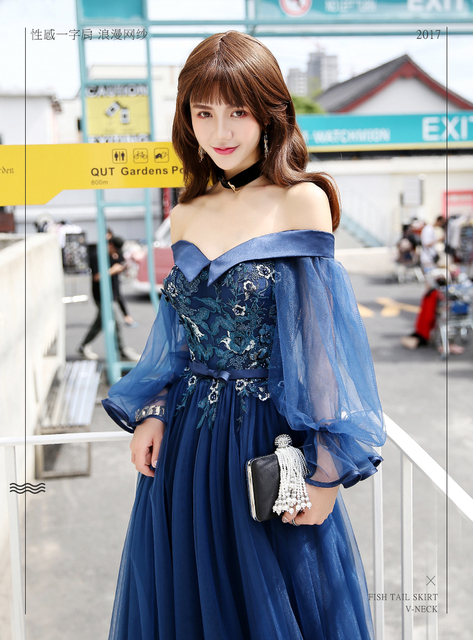 77f1eb092fc navy lantern sleeve sexy embroidery fairy fancy long dress gown Medieval  Victorian Ball stage performance