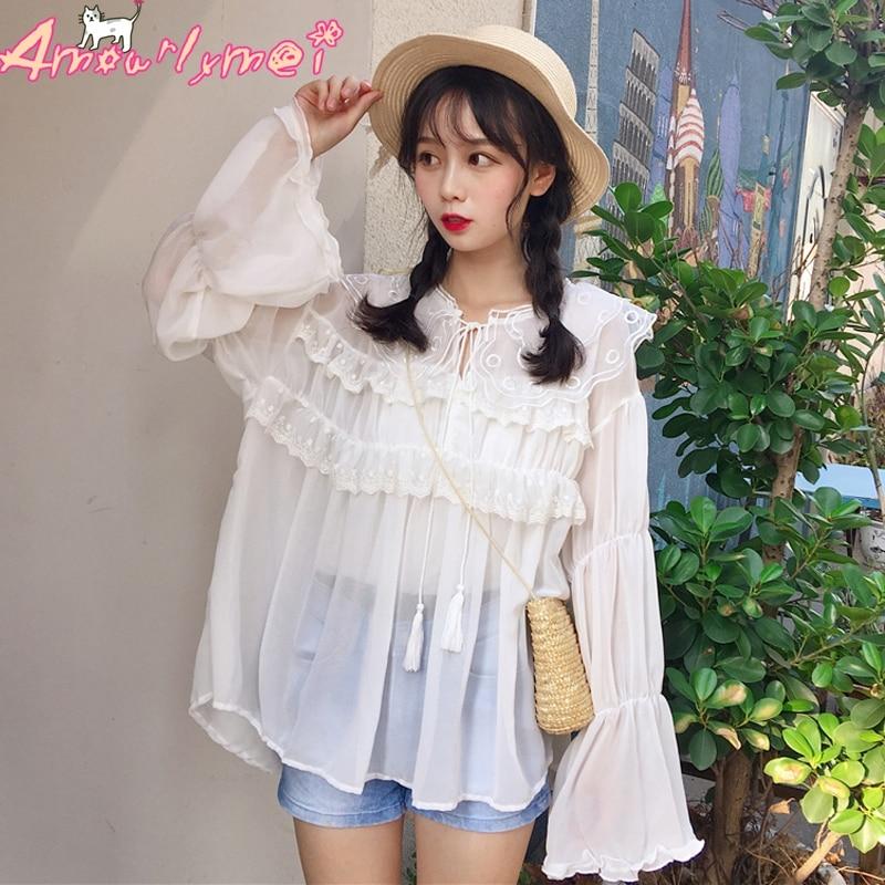 Neploe Japanese Sweet Lace Shirt Strapless Slash Neck Ruffles Blouse Elegant Princess Flare Sleeve Female Blusas Tops 37561 Blouses & Shirts